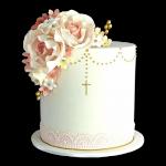 torta de confirmación con rosas